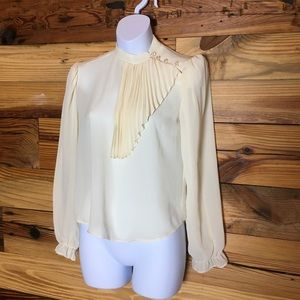 Cover Story Vintage Cream Blouse 60s 50s Chifon